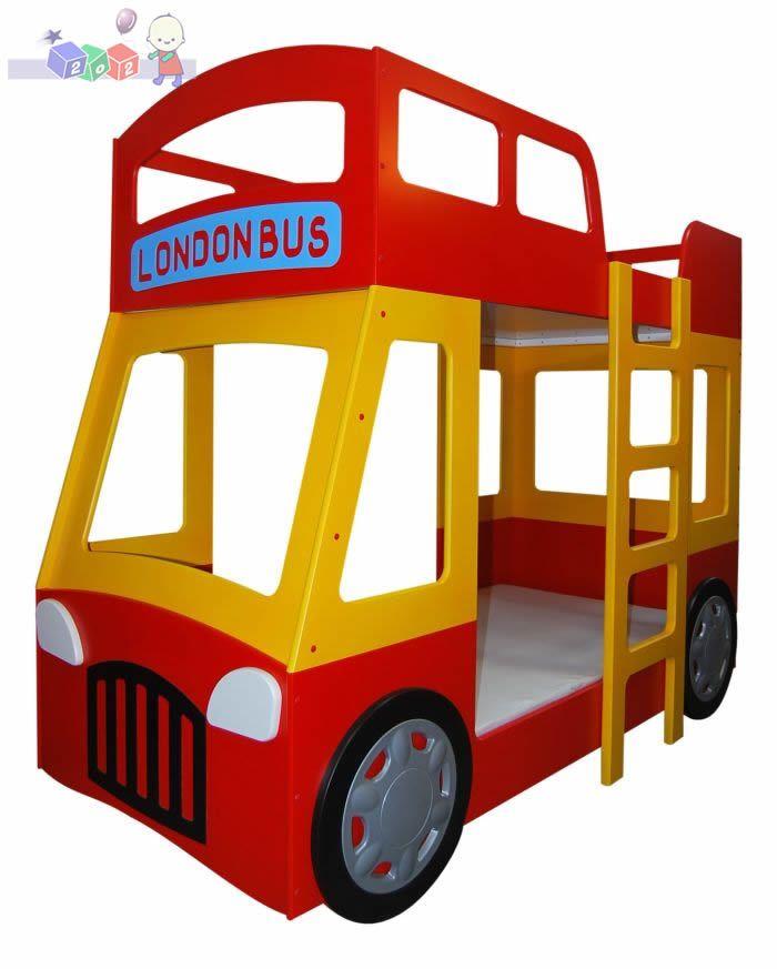 Łóżeczko piętrowe London Bus dolny materac 200x90, górny 180x90