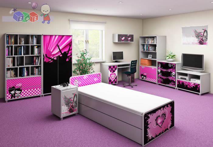 Zestaw mebli młodzieżowych Emo firmy Baby best komoda 3 szuflady, łóżko, szafa dwudrzwiowa