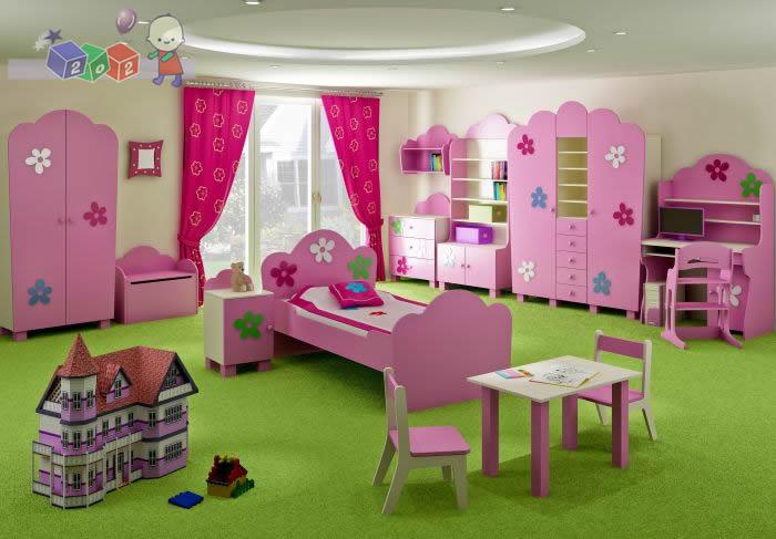 Zestaw mebli dla dziecka komoda szafa łożko kolekcja Flower Baby Best