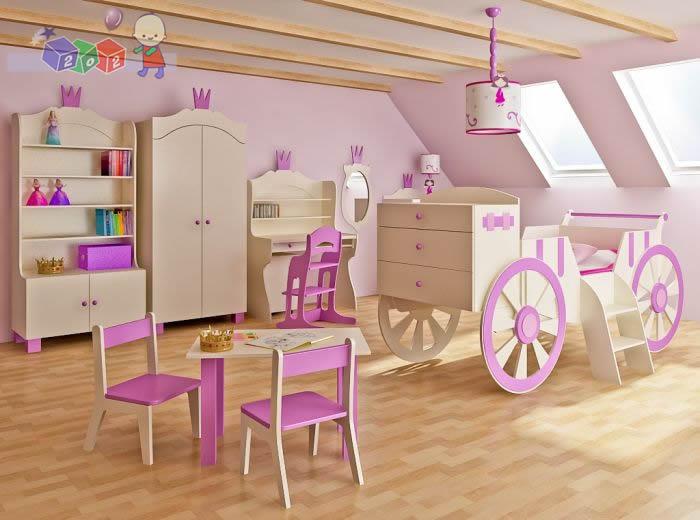 Zestaw mebli dziecięcych szafa komoda łóżko dla księżniczki kareta