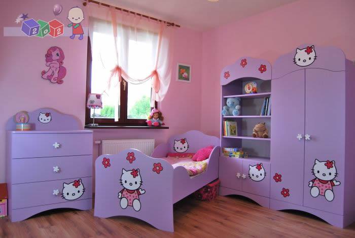 Komplet dziecięcy mebli dziecięcych Kotek łóżko 160x80 cm + komoda + szafa