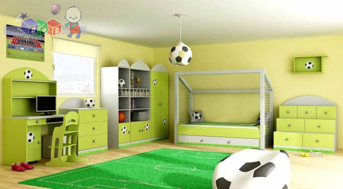 Zestaw mebli dla chłopca Piłka, łóżko w kształcie brami + szafa + komoda 3 szuflady