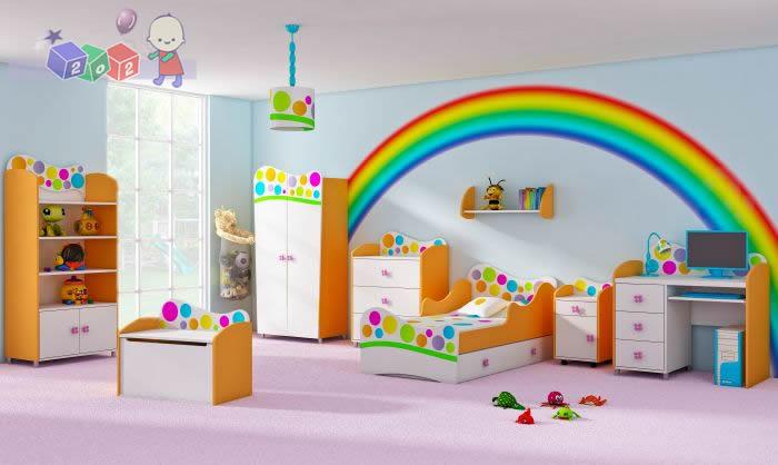 Zestaw mebli dla dziecka komoda z szafą i łóżkiem młodzieżowym Rainbow