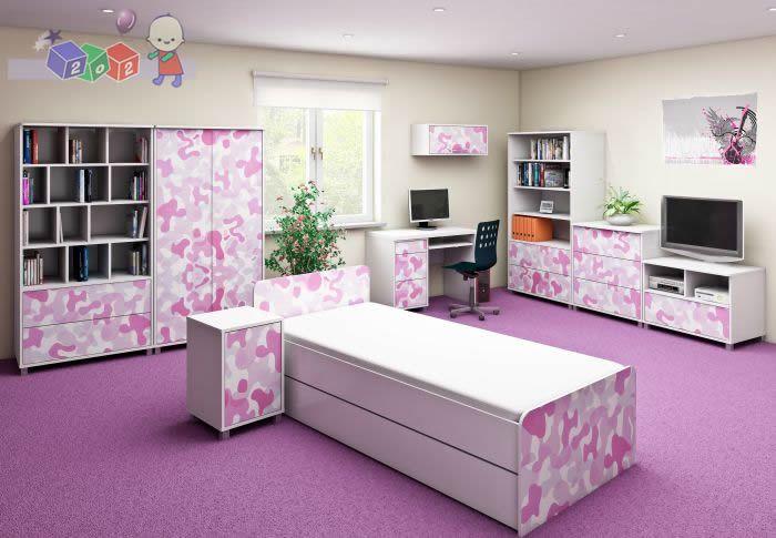 Zestaw mebli młodzieżowych Young Szafa + komoda + łóżko 200x90 cm