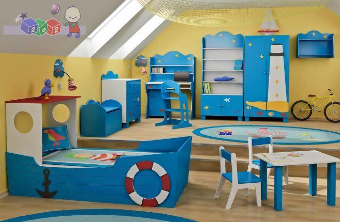 Zestaw mebli dziecięcych Statek Baby Best Łóżko - łódka komoda + szafa