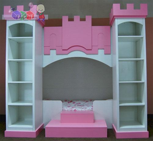 Zestaw mebli dziecięcych Pałacowy łóżko dolne 180x90 dwa regały + miejsce do zabawy na górze(możliwość adaptacji góry na 2 łóżko wys 224 szer 240 gł 151