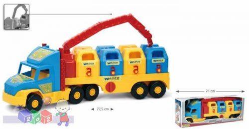 Duży truck śmieciarka hds z cztermoma pojemnikami na śmieci Wader 36530