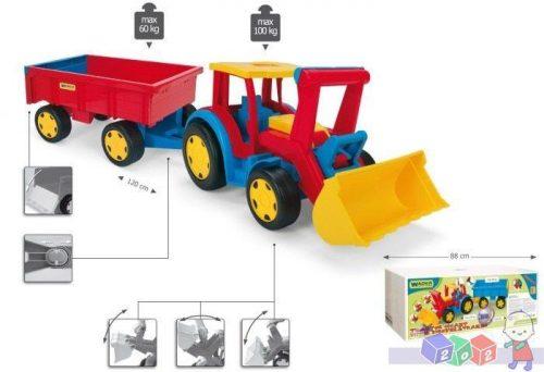 Mega traktor z łyżką i i przyczepą 66 300 Wader