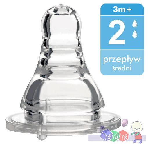 Smoczek silikonowy do butelek standardowych BabyOno_Średni