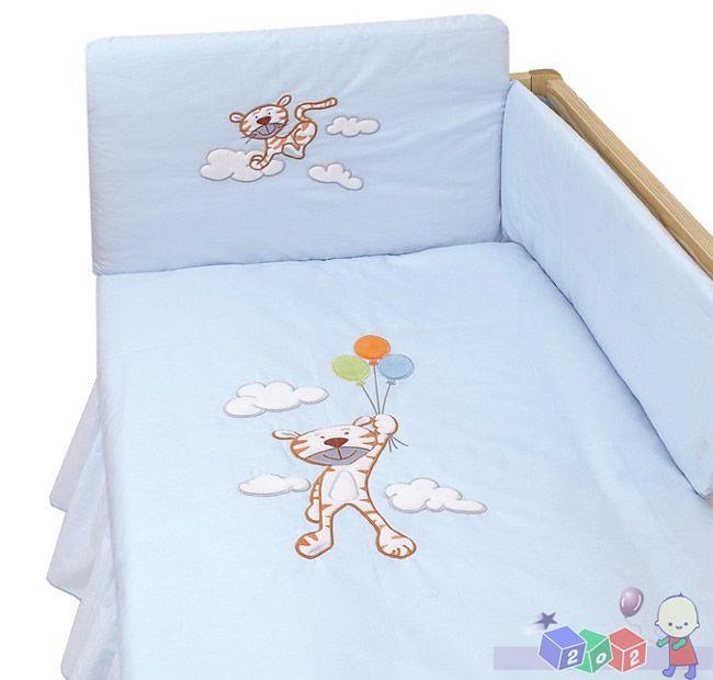 Trzyelementowy zestaw pościeli do łóżeczka dziecięcego Amy - wesoły tygrys K3