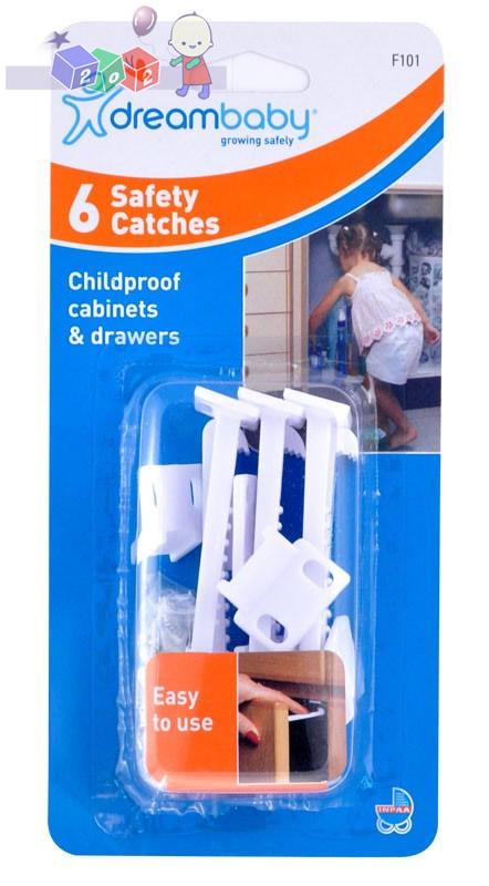 Solidne i łatwe w użyciu zatrzaski zabezpieczające do szafek i szuflad Dreambaby 6 szt.