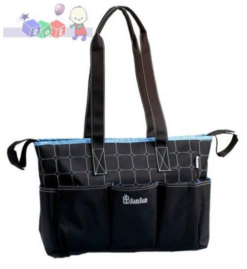Modna i praktyczna torba na akcesoria, z przewijakiem Bam Bam czarno niebieska