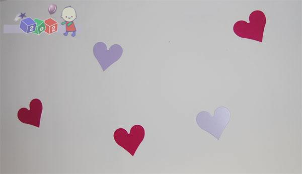 Dekoracja ścienna - drewniane serca 7 szt. Baby Best