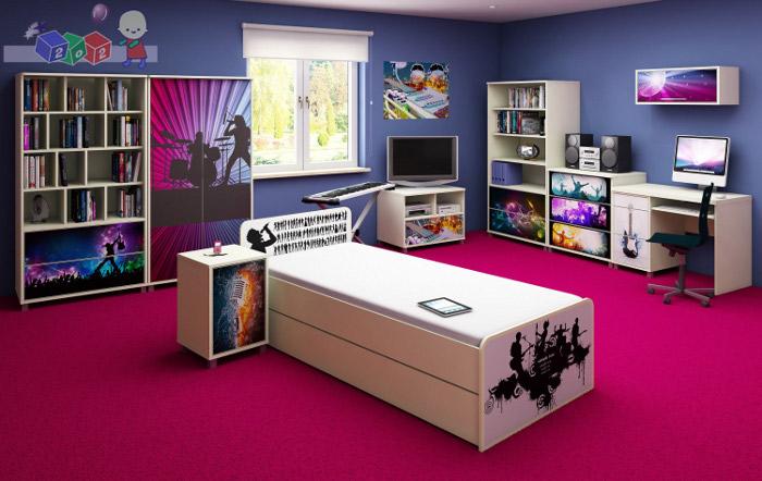 Komplet mebli młodzieżowych Music firmy Baby Best - szafa + łóżko 200x90 + komoda
