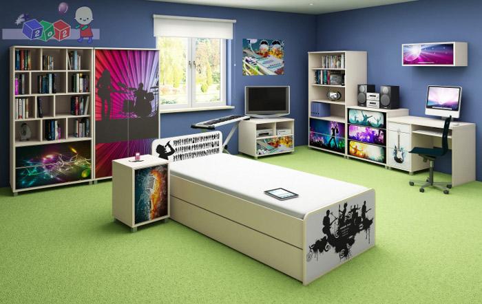 Komplet mebli młodzieżowych Music firmy Baby Best - szafa + łóżko 200x120 + komoda