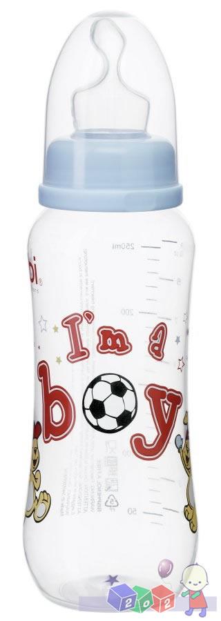 *Butelka antykolkowa z wąską szyjką i silikonowym smoczkiem Little Star Boy 250 ml firmy Bibi