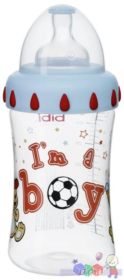 Plastikowe butelki antykolkowe z szeroką szyjką Bibi Little Stars Boy 350 ml - smoczek silikonowy