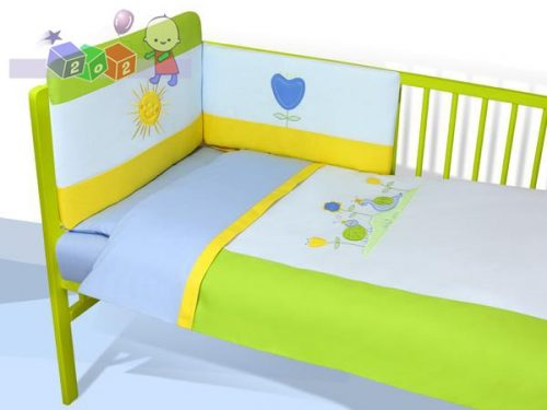 *Satynowa pościel 3-elementowa do łóżeczka dziecięcego Baby's Zone - Na łące - niebieska