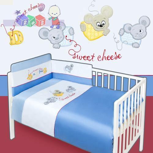 Trzyelementowa pościel dziecięca Baby's Zone satyna - kolekcja Myszki - biało niebieska