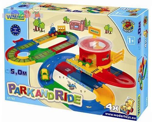 Kid Cars - Stacja Przesiadkowa Wader 51792 - tory kolejowe, autostrada i 4 pojazdy - 5m.