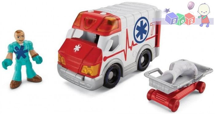 Fisher Price Imaginext - Pojazdy miejskie BGY15 - ambulans, policja, pomoc drogowa