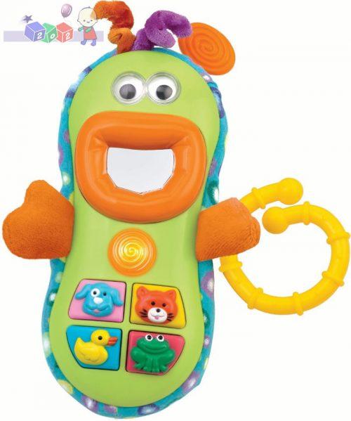 Zabawny telefon Smily Play - interaktywna zabawka z gryzakami i zawieszką dla dzieci 3m+