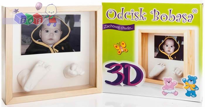 Ramka Odcisk bobasa 3D - ramka na zdjęcie z masą do stworzenia trójwymiarowego odlewu