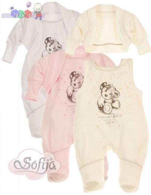 Komplet bielizny niemowlęcej dla dziewczynki Sofija Arielka - kaftanik ze śpioszkami r.56