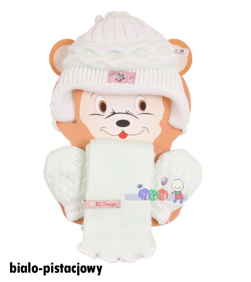 Cieplutkie kompleciki na zimę czapki szaliki rękawiczki Irenka Baby Queen rozm 48