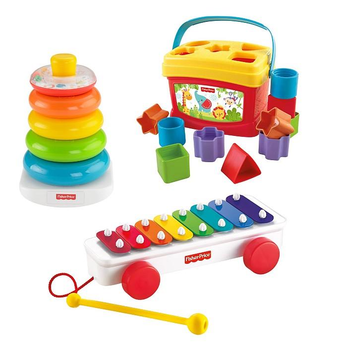 Moje Pierwsze Zabawki: sorter, piramidka i cymbałki Fisher Price