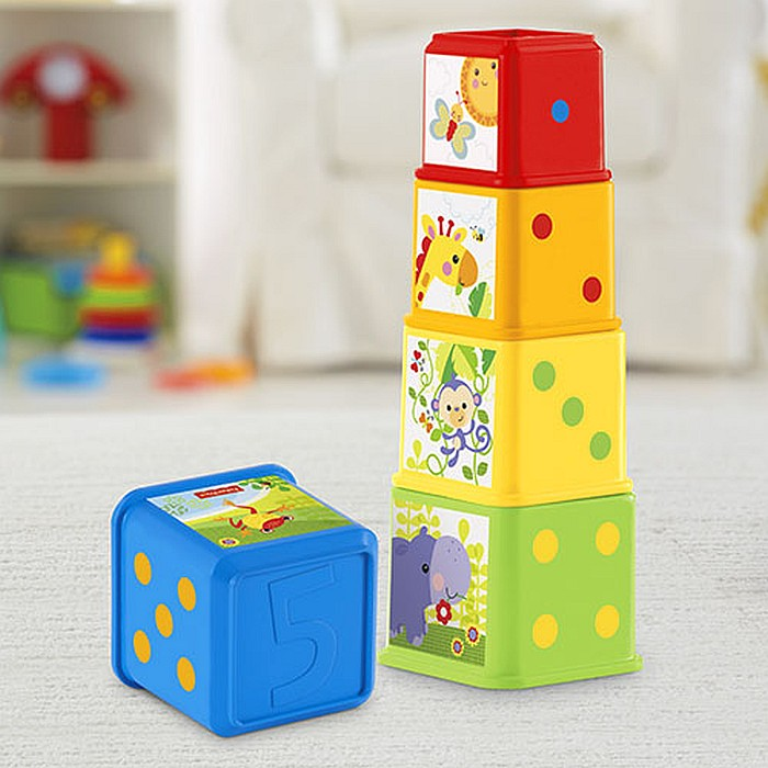 Fisher Price - Klocki Odkrywcy - pięć kolorowych kwadratowych klocków 6m+