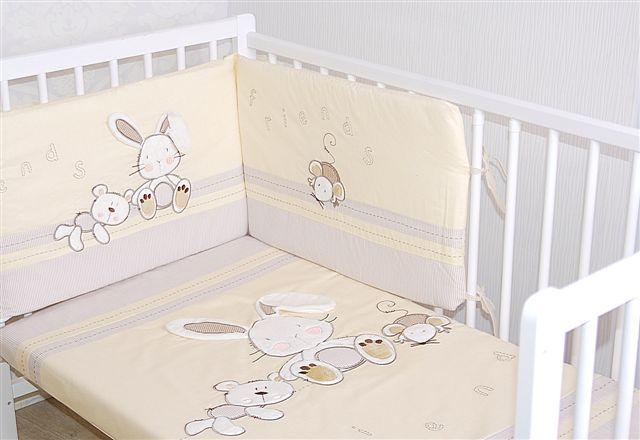 Pościel 3 elemnty do łóżeczka dziecięcego z bawełny satynowej Gromadka zajęcy Gluck