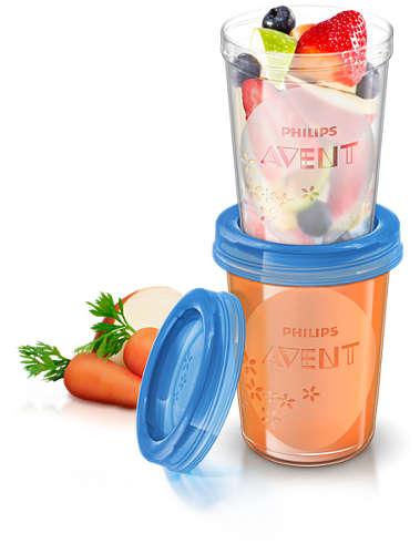 Pojemniki do przechowywania pokarmów i żywności +przykrywki Avent Via 240 ml SCF 639/05