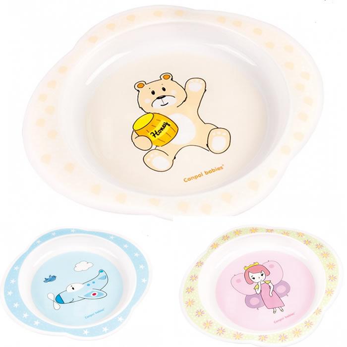 Plastikowy talerzyk dla dzieci melamina Księżniczka, Samolot, Miś Canpol Babies