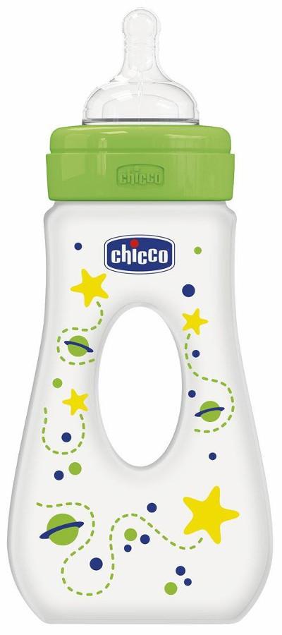 Chicco butelka Well-Being zielona z dziurką 240 ml smoczek silikonowy