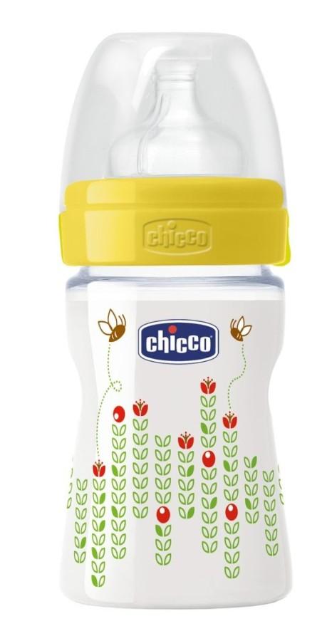 Butelka Chicco Weelbeing 150 ml silikonowy smoczek żółta