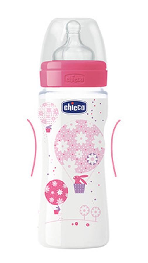 Butelka Chicco Weelbeing 330 ml silikonowy smoczek 4m+ różowa