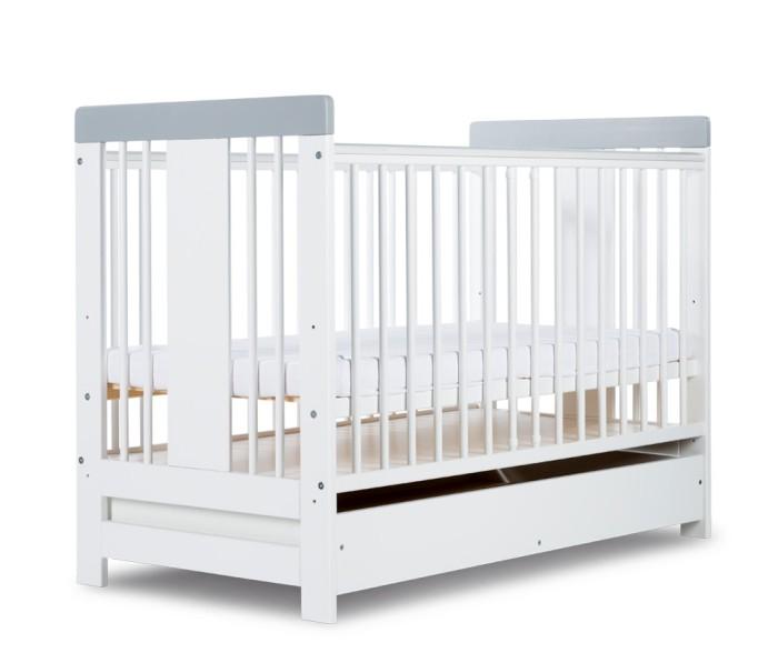 Łóżeczka dla dzieci Radek VI szuflada 120x60 Klupś + gryzaki - biały popiel
