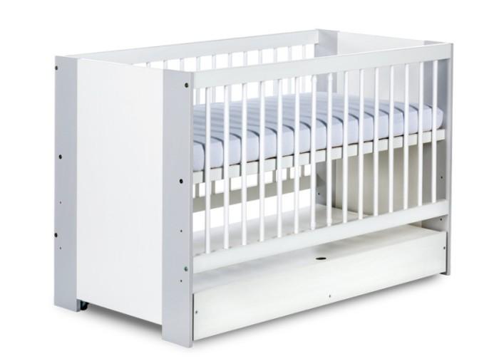 Dziecięce łóżeczko z drewna sosnowego i płyty MDF z szufladą 120x60 cm Klupś Safari De Luxe