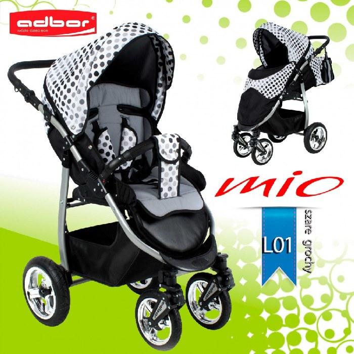 Wózek spacerowy Mio Limited Pompowane koła Groszki
