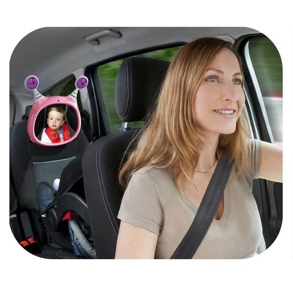 Interaktywne lusterko do samochodu dla dziecka Benbat Różowe na pilota
