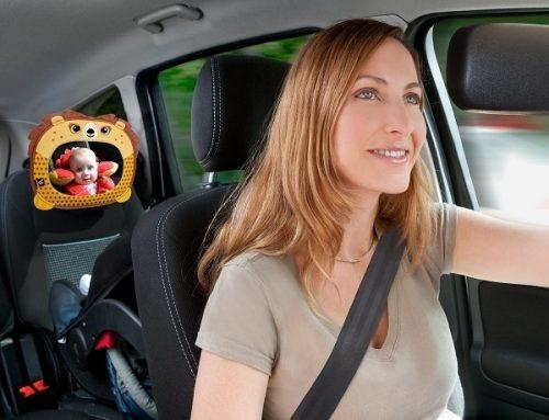 Lusterko do samochodu dla dzieci podróżujących tyłem do kierunku jazdy Żaba Ben Bat