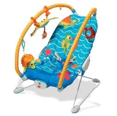 Leżeczek dla niemowląt z wibracjami i regulowanymi pałąkami - Podwodny świat Tiny Love
