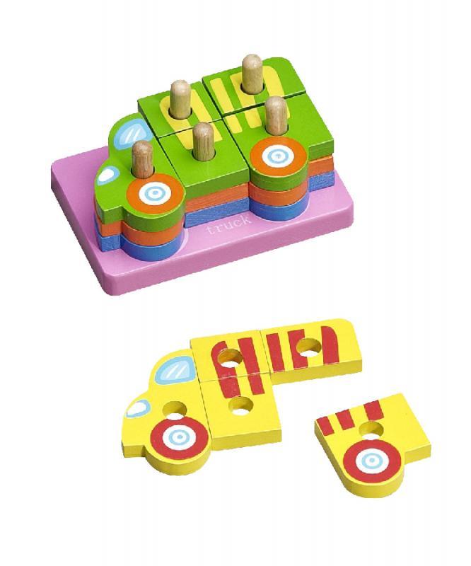 Baby more klocki drewniane-układanka - Ciężarówki