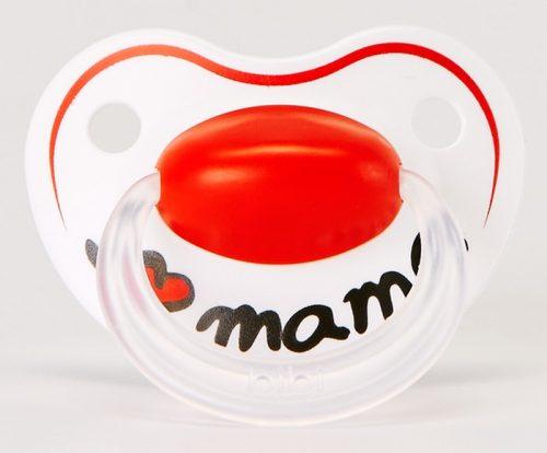 BiBi Smoczek ortodontyczny z napisem I love mama z kolekcji Mama/Papa. 0-6 m