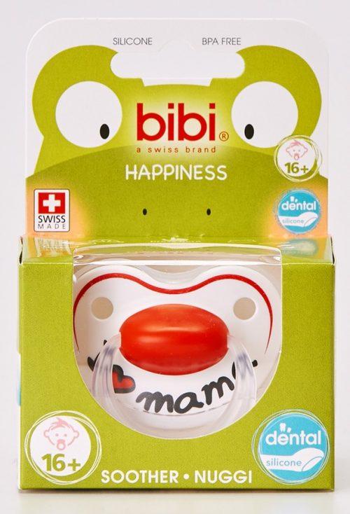 BiBi Smoczek ortodontyczny z napisem I love mama z kolekcji Mama/Papa 16 m+