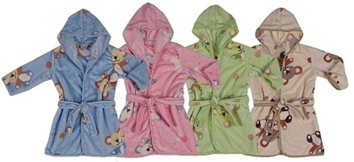Ciepły szlafrok dziecięcy Velur Druk Fleece 116-122 Duet Baby