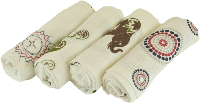 Bambusowa pieluszka drukowana kolorowa 90x90 Duet baby