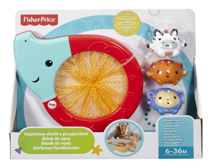 Fisher Price Kąpielowy słonik z przyjaciółmi - siateczka na zabawki kapielowe