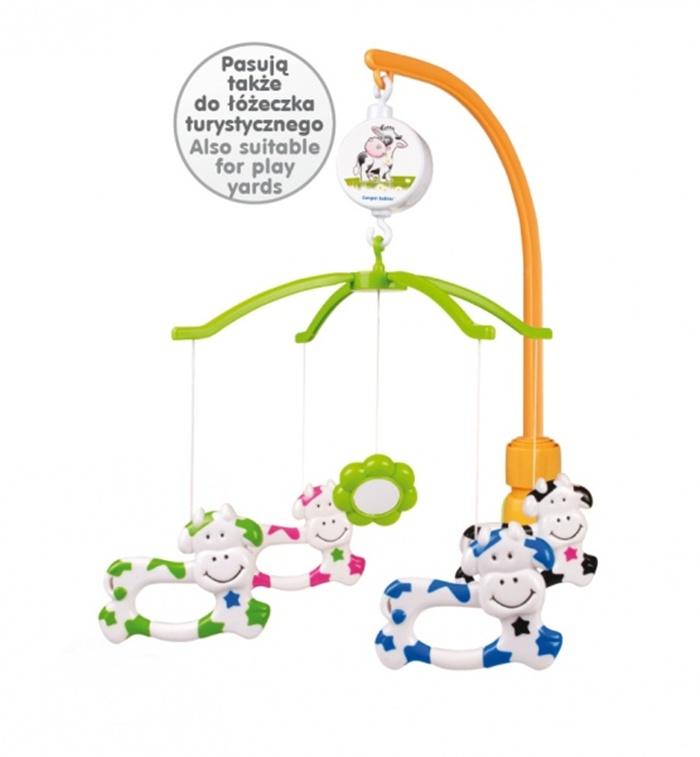 Plastikowa karuzelka z uniwersalnym uchwytem do łóżeczka dziecięcego - Krówki Canpol Babies